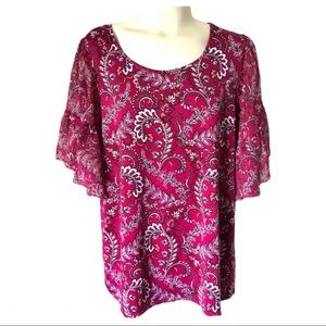 Roz & Ali top with shimmery sleeves Sz M